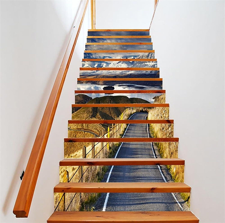 LTTSTD Aufkleber Kunst Berge Autobahn Treppen Dekoration 3D Renoviert DIY Bodenabziehbilder Herausnehmbar Wasserdicht Selbstklebend Kreativ Treppenaufkleber Wohnkultur Wandbild, a B07LCNLLG4   Stilvoll und lustig