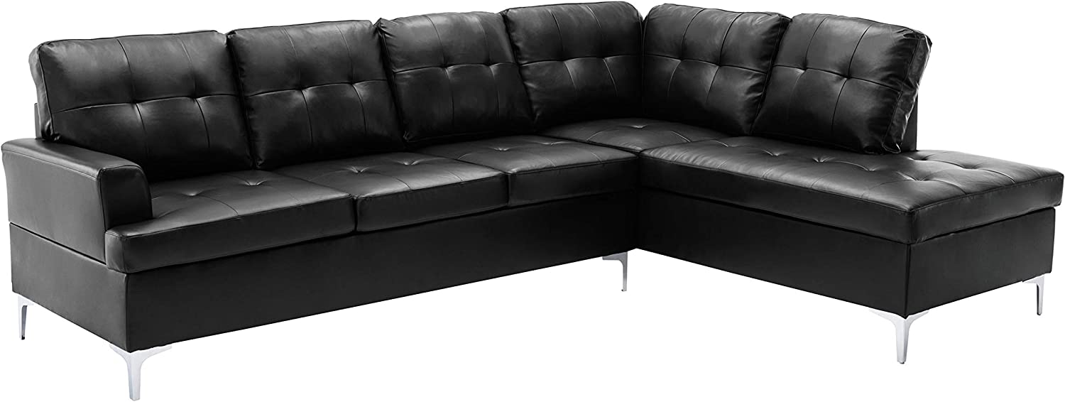 Lexicon Store Dani quality assurance 2-Piece Faux Leather Tufted Rig Sofa Sectional with