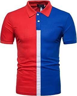 Men's Fashion Two Color Matching Basic Sport Polo T-Shirts