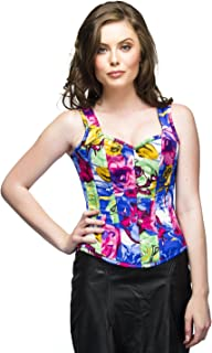 MultiColor Print Poly Gothic Burlesque Waist Cincher Bustier Overbust Corset Top