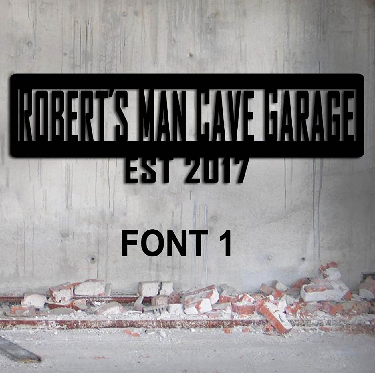 Man Cave Sign - Large - Garage Sign Family Name Custom Metal Personalized sign Hand Made USA