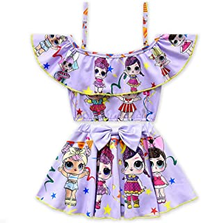 Rohero Toddler Baby Girls Swimsuits Two Piece Doll Print Ruffle Swimwear Bathing Suit for Doll Surprised