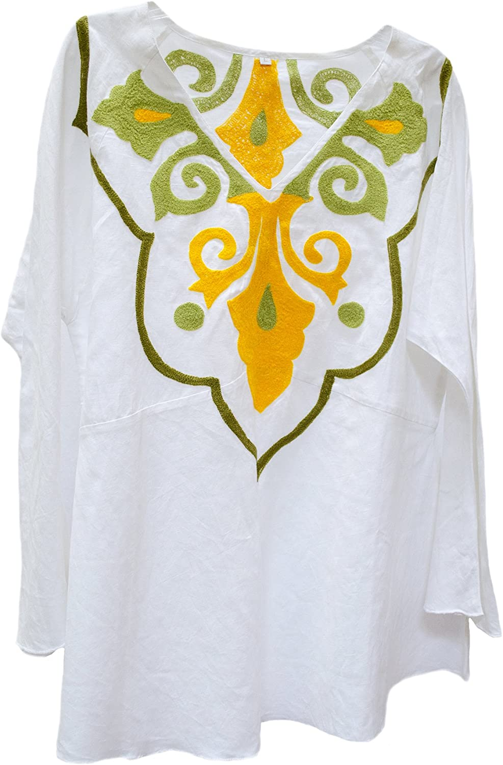 Steel Paisley Marrakech Suzani Embroidered Linen Tunic Top Shirt White Yellow Olive Green L XL