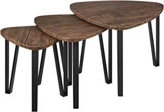 Kealive Industrial Nesting Coffee Tables Set of 3 Stacking End Side Tables Combinable for Bedroom Living Room Table Set with Sturdy Metal Legs, Modern Furniture Vintage Nightstands, Wood Grain