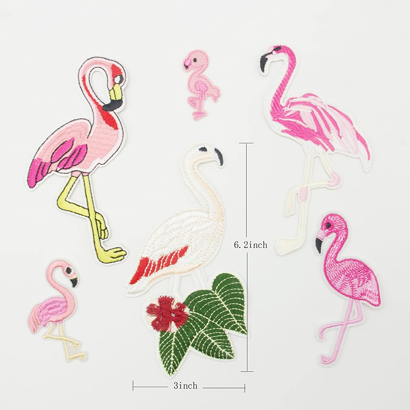 Bundle 6 Pieces Graceful flamingos Sew on/Iron - on Patch Set Skeleton?Fully Embroidered? (pink)