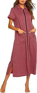 Women Zipper Robe Short Sleeve House Dress Full Length Sleepwear Duster Housecoat with Pockets S-XXL