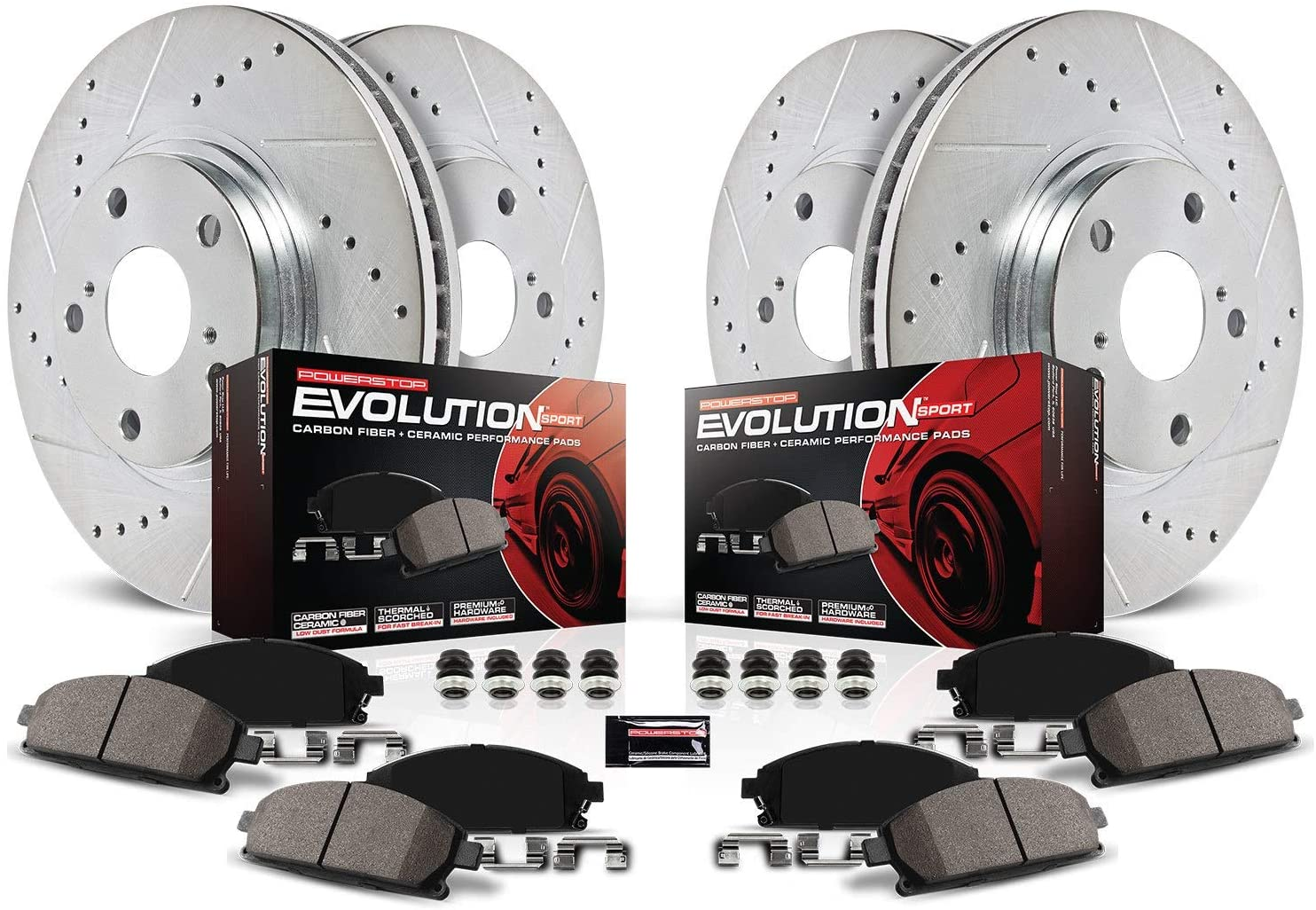 Power Stop K2751 Front store and Rear Carbon Pads with In a popularity Brake Z23 Fiber