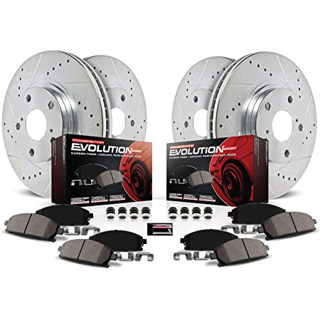 Power Stop K2003 Rear Ceramic Brake Pad and Cross Drilled//Slotted Combo Rotor One-Click Brake Kit