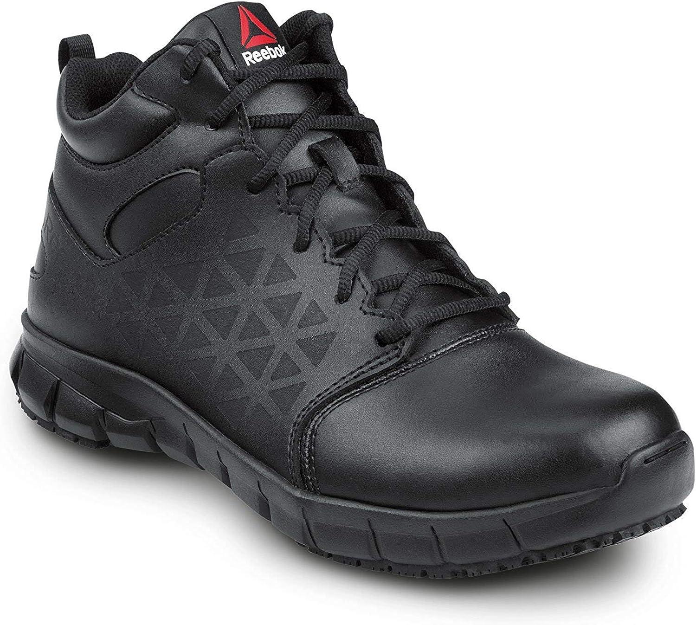 Reebok Work Sublite Cushion Work, Black, Men's, Mid-Athletic Style Slip Resistant Soft Toe Work Shoe