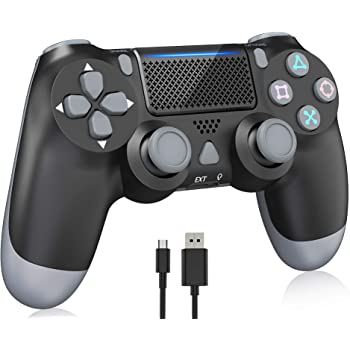 Wireless Controller for PS4, Y-Team Game Controller for Playstation 4/Pro/Slim, Joystick Remote with Dual Motors, Audio Jack,1000mAh Battery (Jet Black)