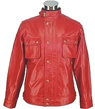 Leather Jacket for Men RED Racemaster Lamb Hide Gents Genuine Sheep tan Motorbike