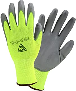 Westchester Protective Gear Touch Screen Hi-Vis Yellow PU Palm Coated Nylon Gloves (3-Pack)