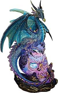 Design Toscano QS91653 Dragon Assassin on Skull Gothic Decor Statue Figurine, 7 Inch, Full Color