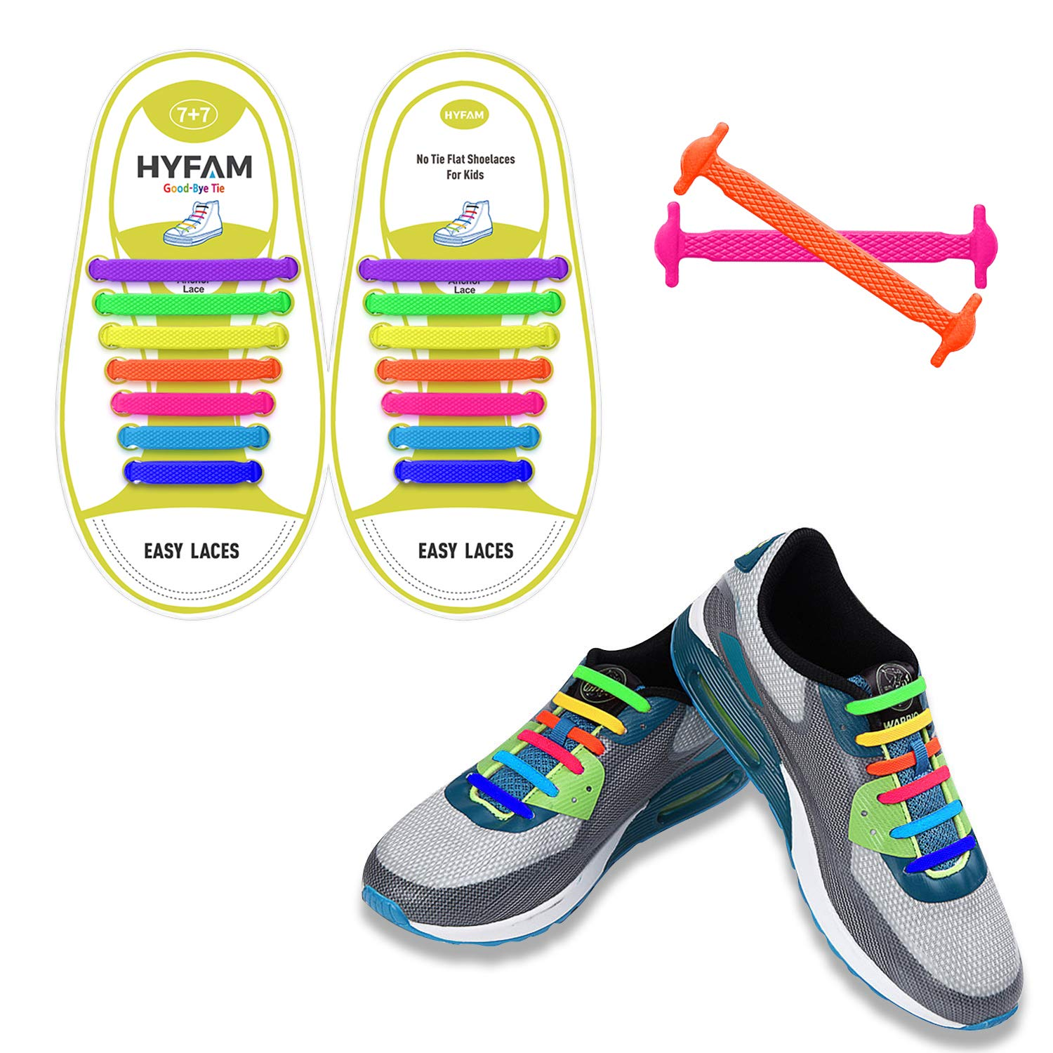 Waterproof Elastic Silicone Tieless Shoe Laces for Sneakers Board Shoes Casual Shoes HYFAM No Tie Shoelaces for Kids//Adults