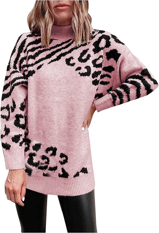 RUIY Women's Trendy Fall Sweater, Fashion Turtleneck Long Sleeves Leopard Print Pullover Casual Sweatshirt Jumper Tunic