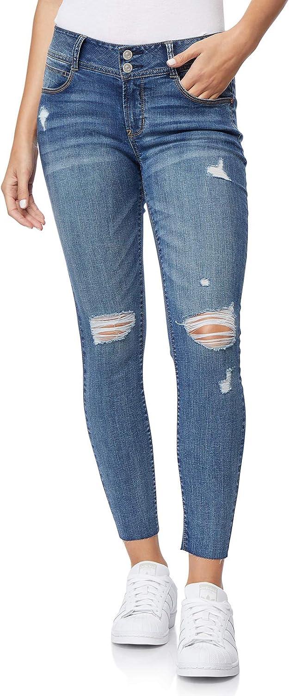WallFlower Womens Juniors Destructed Luscious Curvy Ankle Skinny Jeans