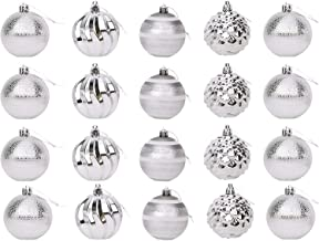 Toyland® 20 x 6cm (60mm) Luxury Silver Christmas Baubles with Assorted Designs - Tree Decorations