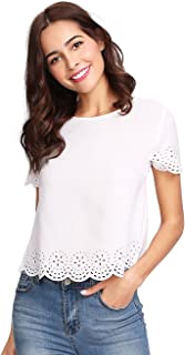 9f57e46beedd64 SheIn Women's Casual Round Neck Summer Short Sleeve Scallop T-Shirt Top  Blouse