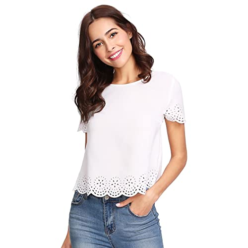 9008a529958af SheIn Women s Casual Round Neck Summer Short Sleeve Scallop T-Shirt Top  Blouse