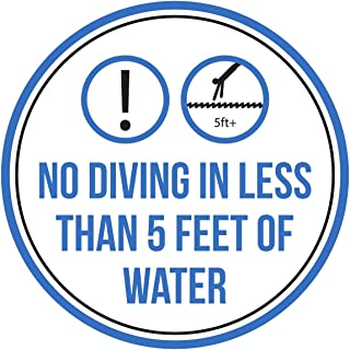 iCandy Products Inc No Diving in Less Than 5 Feet of Water Swimming Pool Spa Warning Round Sign, Metal - 12 Inch