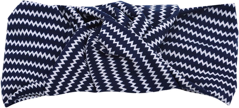 LeeZAKA Twist Knot Headband Wide Elastic Wrap Turban Wavy Stripe Cross Hair Band for Women Hair Accessories,Navy Blue Ripple