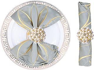 JulyLab Set of 8 Napkin Ring Pearl Beaded Diamante Rhinestone Crystal Napkin Holder Table Setting Wedding Décor, Gold