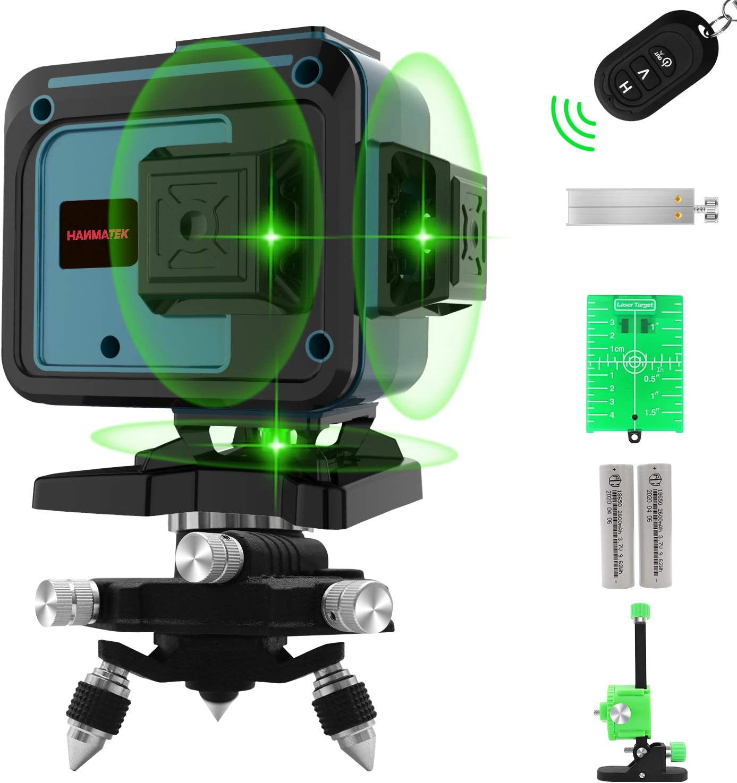 Nivel Láser, Línea Láser Verde Cruzada 3x360 °, Líneas de Niveles Láser de Modo de Pulso, 12 Líneas Horizontales y Verticales Autonivelantes, IP54 a Prueba de Agua con 2 Baterías,Control Remoto