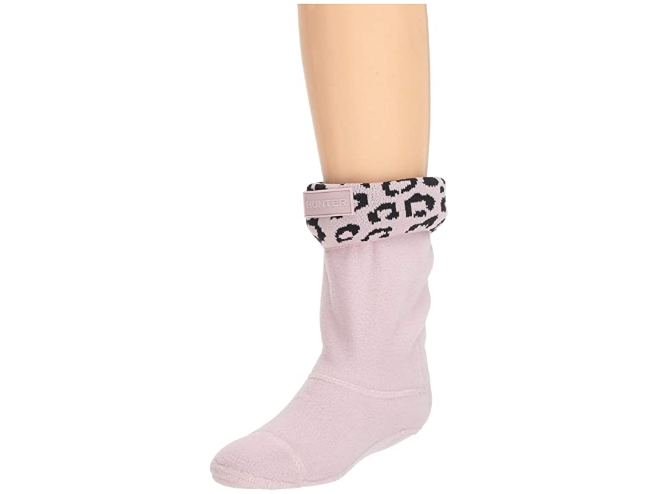 Hunter Kids Snow Leopard Cuff Boot Sock (Toddler/Little Kid/Big Kid) (Haze Pink Leopard Jacquard) Girls Shoes