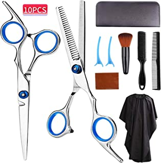 Sponsored Ad - EMOCCI Hair Cutting Scissors Kit - Stainless Steel Hairdressing Shears Set Professional Haircut Tool with T...
