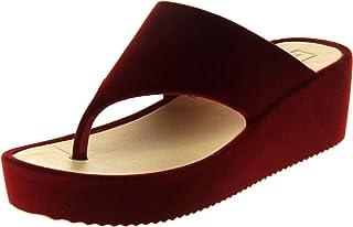 Dunlop Womens Velvet Toe Post Flip Flops Platfrom Wedged Summer Sandals
