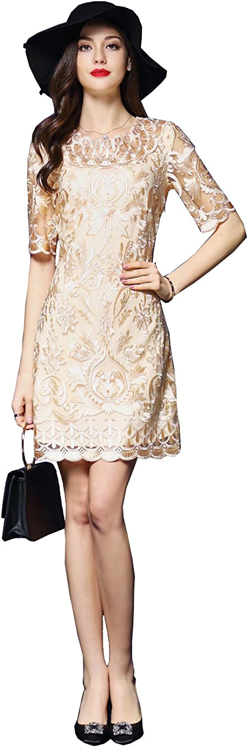 Desimpler Women's Smart Scoop Embroidery Short Cocktail Party Dress with Sleeve