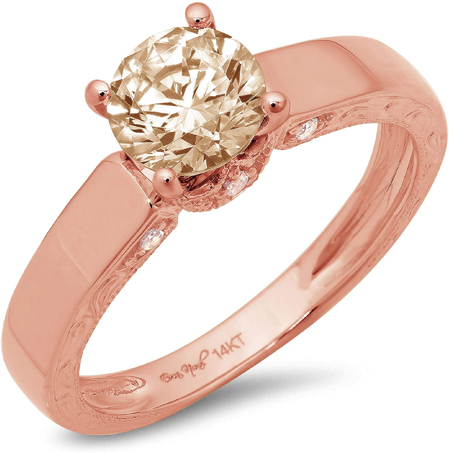 1.67ct Brilliant Round Cut Solitaire Brown Champagne Simulated Diamond CZ VVS1 Designer Modern Statement with accent Ring Real Solid 14k Rose Gold Clara Pucci