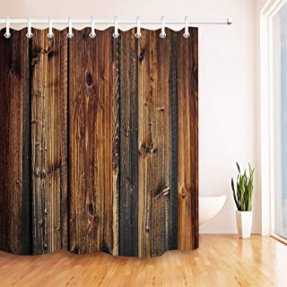 LB Rustic Brown Wood Panel Shower Curtain Farmhouse Style Wooden Texture Country Style Shower Curtain 72x72 Inch Fabric Bathroom Decor Waterproof