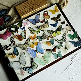 80PCS Small Vintage Butterfly Scrapbook Stickers, Doraking DIY Decoration Sulfuric Paper Butterfly Stickers for Scrapbook(Butterfly Illustration, 80PCS/Pack)