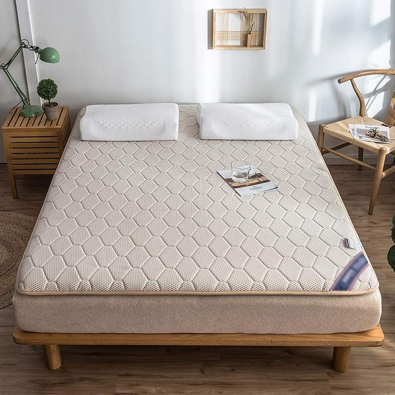 合金乗算びっくりするマットレストッパーパッド天然ラテックスパッド畳ベッドカバー保護パッドフロアマット家庭用クッション (色 : Khaki, サイズさいず : 90×200cm)