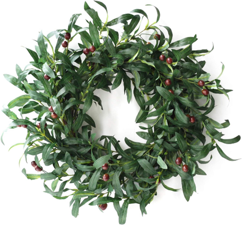 YQYAZL Max 67% OFF Artificial Olive Leaf Wreath Manufacturer OFFicial shop 55CM Faux Oli Foliage