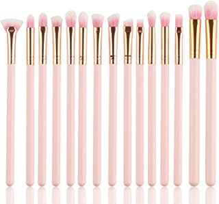 Eye Makeup Brushes Set, Logiverl 15 Pieces Eyeshadow Makeup Brush Set Included Eyeshadow Eyebrow Mini Fan Brush with Wooden Handle(Pink)