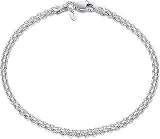 925 Sterling Silver 2.2 mm Bismark Chain Bracelet Size 7