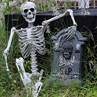 Flurries Happy Halloween Full Body Skeleton Prop Model Anatomical Movable Joints - Creepy Realistic Human Bones Skull Figurine - Prank Toy Home Party Decoration (Beige)