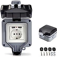 IP66 stopcontact met USB-aansluitingen, elektrische waterdichte wandcontactdoos, buitenstopcontact, opbouwstopcontact, gea...