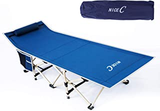 Nice C Camping Cot, Camping Bed, Tent Cot, Foldable with Carry Bag & Storage Bag, Heavy Duty Outdoor, Camping, BBQ, Beach, Travel, Picnic, Festival