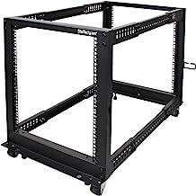 "StarTech.com 12U Open Frame Server Rack - 4 Post Adjustable Depth (22"" to 40"") Network Equipment Rack w/ Casters/ Leveler..."