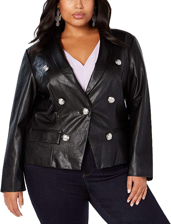 I-N-C Womens Military-Button Blazer Jacket
