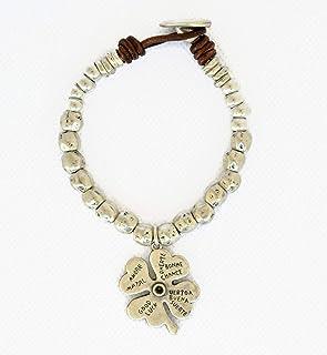 Bracciale perline di zama argento e pelle per donna, bracciale a quadrifoglio