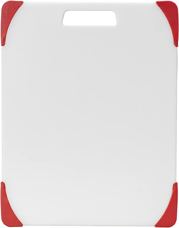 Farberware Nonslip Plastic Cutting Board 11 Inch By 14 Inch White Red