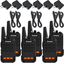 Greaval USB Rechargable Walkie Talkies 6 Pack Long Range Mini 2 Way Radio 16-Channel Up to 5 Mile Range with Charger