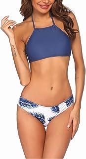 Ekouaer Womens Forest Leaves Printing High Neck Halter Bikini Set Swimsuit