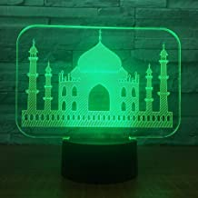 3D Illusion Night Light bluetooth smart Control 7&16M Color Mobile App Led Vision Muslim Temple Castle USB Bedroom Office Decoration Desk Table Unique colorful Creative gift