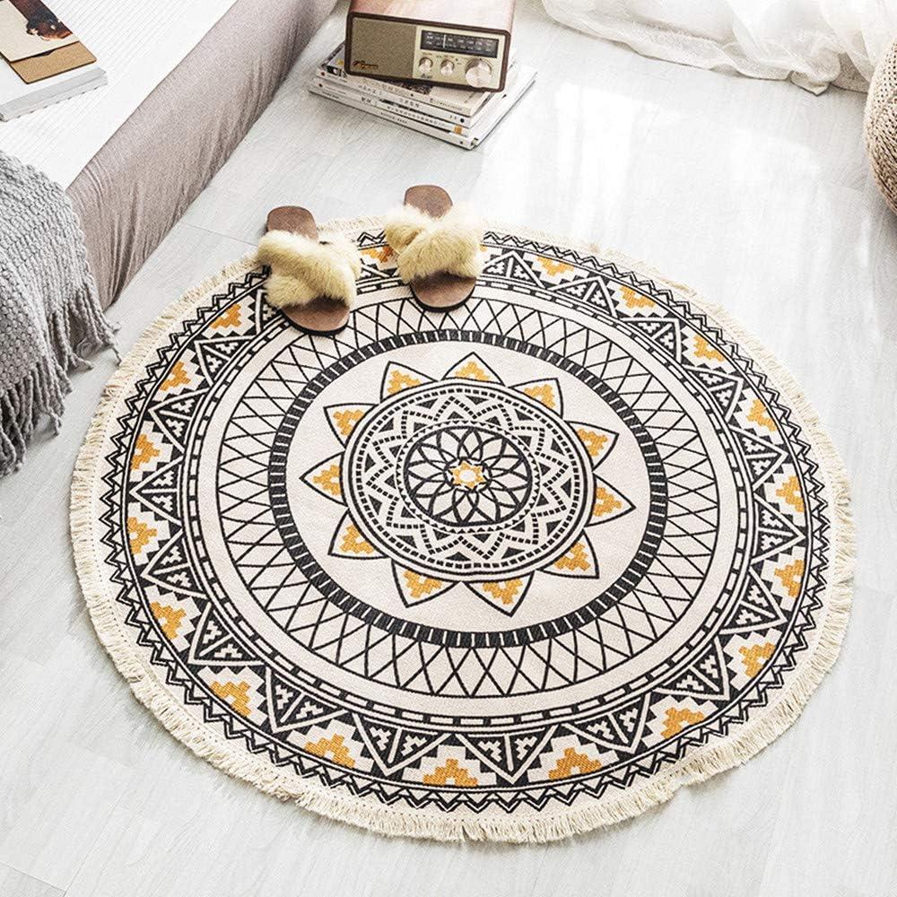 HOMIBAY Bohemian Round Rugs, Boho Mandala Tassels Woven Cotton Circle Mat for Home Kitchen Living Room Bedroom Bathroom Decor Carpet (3' Round, Mandala B)
