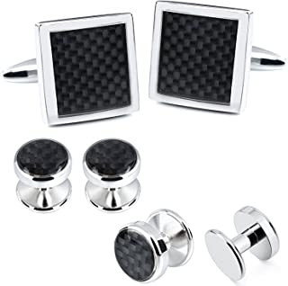 HAWSON Carbon Fiber Cuff Links and Tuxedo Shirt Studs Set in Presentation Box for Mens Formal Shirt